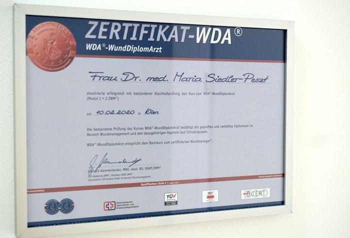 Wunddiplom Dr. Maria Siedler-Peszt